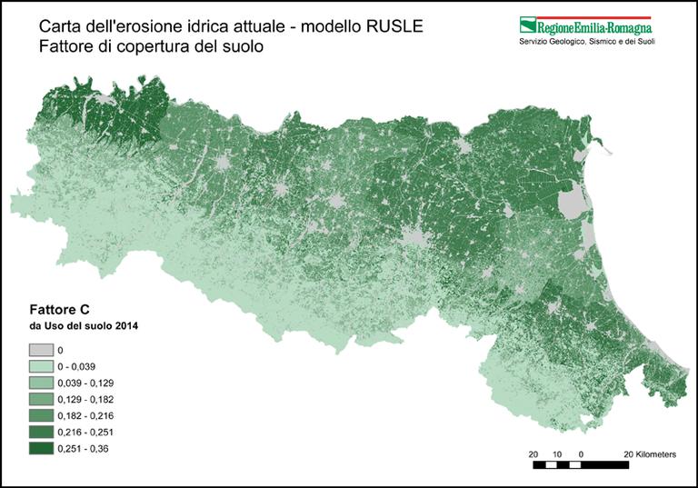 Carta dell'erosione idrica attuale - modello RUSLE Fattore di copertura del suolo