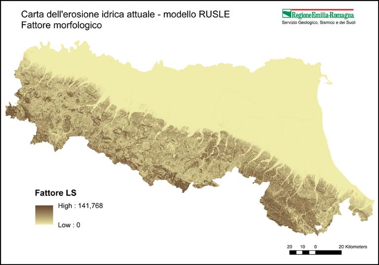 Carta dell'erosione idrica attuale - modello RUSLE Fattore morfologico