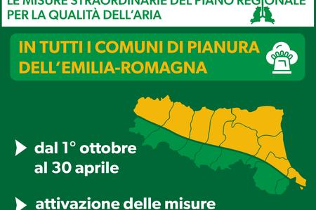Le misure straordinarie del Piano regionale per la qualità dell'aria in tutti i comuni di pianura dell'Emilia-Romagna