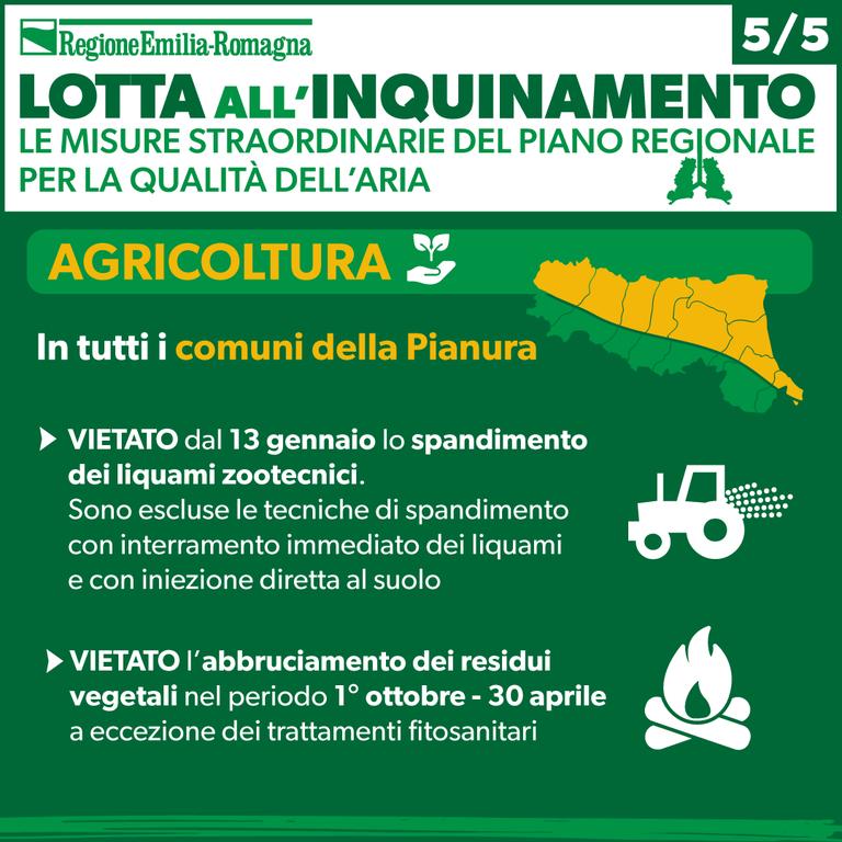 Le misure straordinarie del Piano regionale per la qualità dell'aria 2021: agricoltura