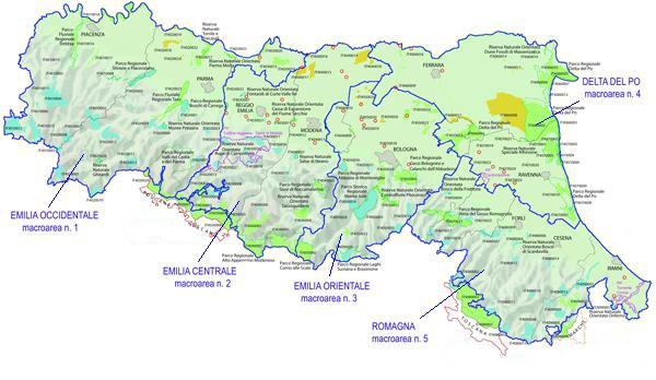Mappa Regione Emilia-Romagna: Macroaree per i Parchi e la Biodiversità
