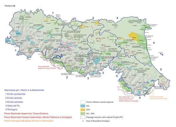 Mappa della Regione Emilia-Romagna: Macroaree per i Parchi e la Biodiversità