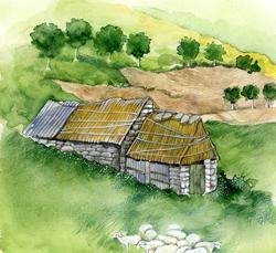 foro: disegno di una Teggia: insieme ai Castelli erano le abitazioni in legno o in pietra utilizzate dai pastori - autore T.Gironi - Archivio Servizio Parchi e Risorse Forestali