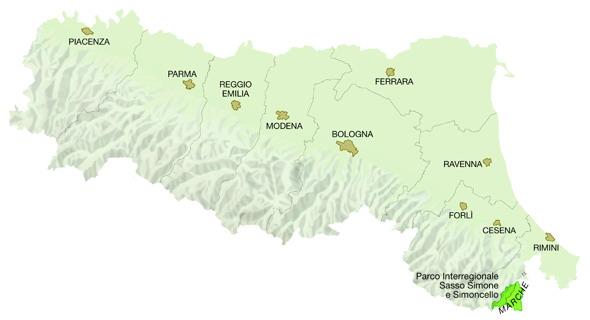 Mappa Regione Emilia-Romagna: Parchi interregionali