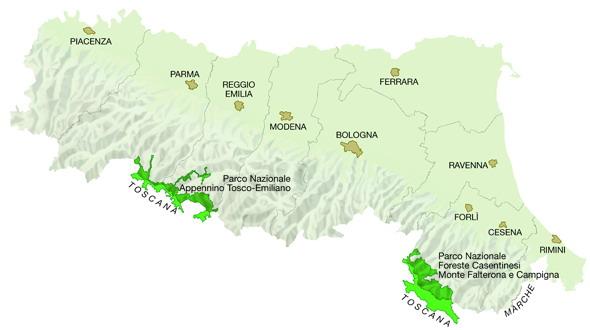 Mappa Regione Emilia-Romagna: Parchi nazionali