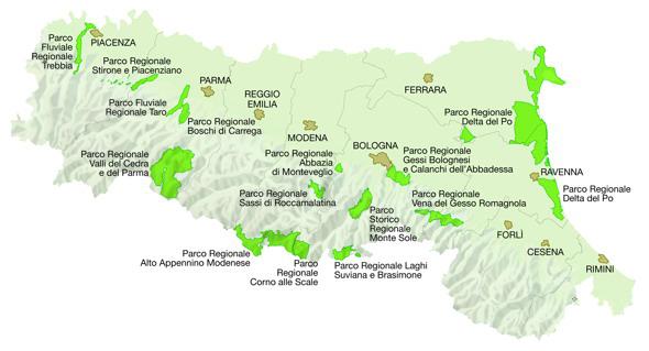 mappa regionale dei Parchi regionali