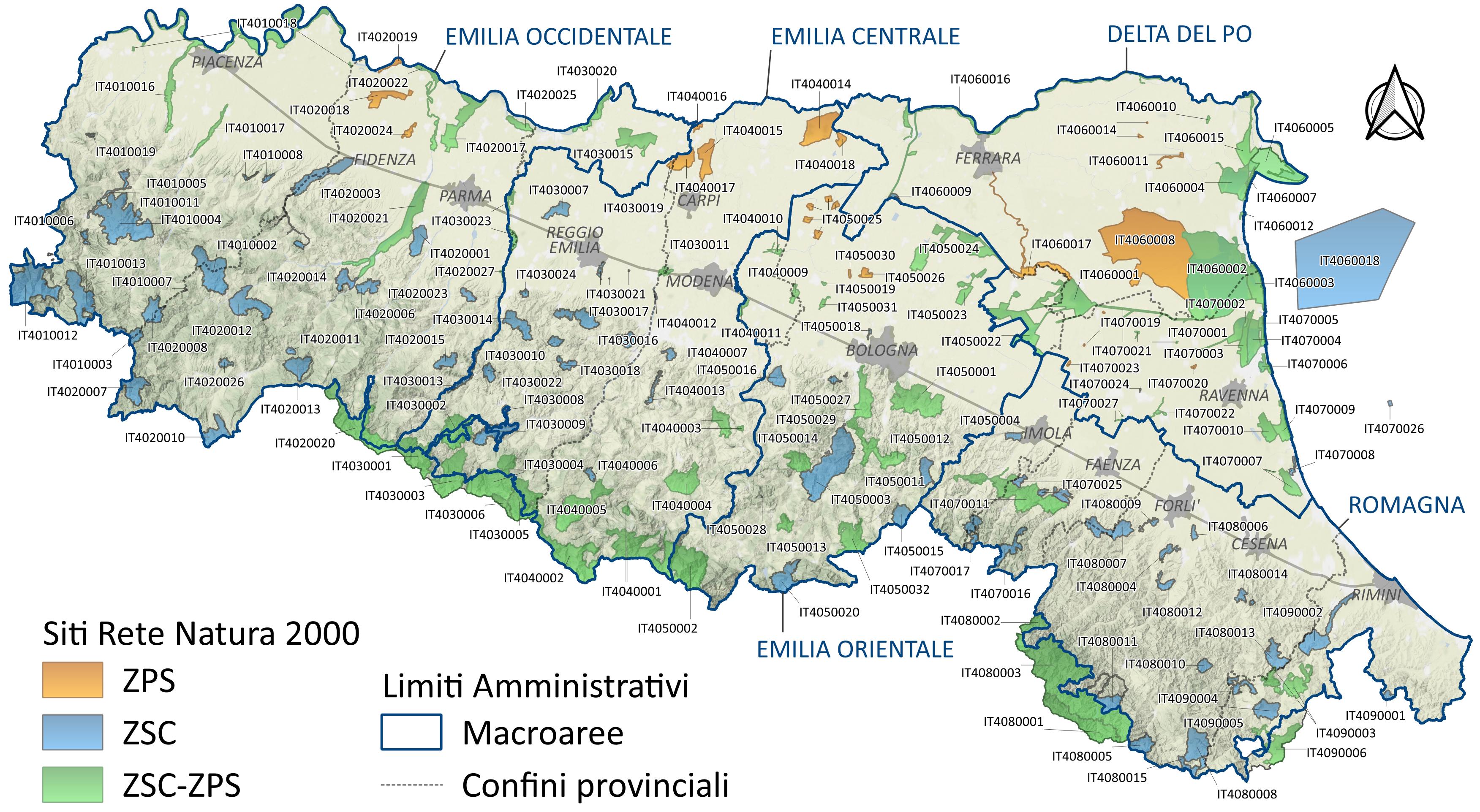 Emilia Romagna Cartina Province.Sic Zsc E Zps Per Provincia Ambiente