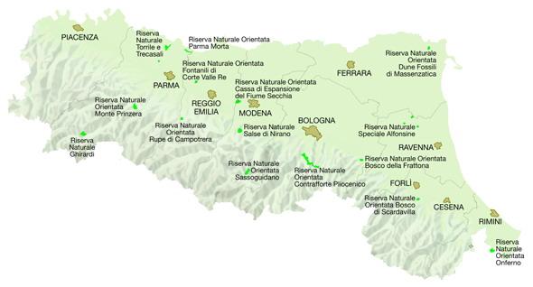 Mappa Regione Emilia-Romagna: Riserve regionali