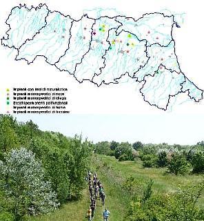 Distribuzione degli interventi e vista su impianto polifunzionale di pianura. Archivio Servizio Parchi e Risorse forestali RER