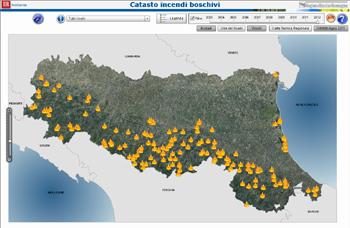 Schermata iniziale della cartografia interattiva. Immagine tratta dal GisWeb in azione. Archivio Parchi e Risorse forestali della Regione Emilia-Romagna