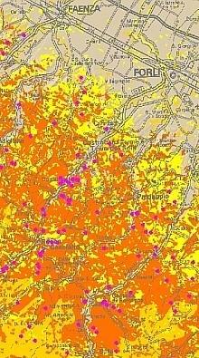Stralcio di mappa da tematismo forestale visualizzato sulla Carta Tecnica Regionale. Particolare della carta d'analisi del rischio per la pianificazione antincendio. Elaborazione Servizio Parchi e Risorse forestali