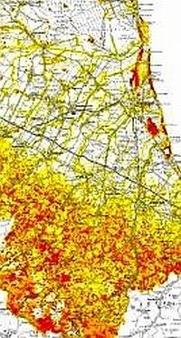 Stralcio di mappa da tematismo forestale visualizzato sulla Carta Tecnica Regionale. Archivio Servizio Parchi e Risorse forestali RER