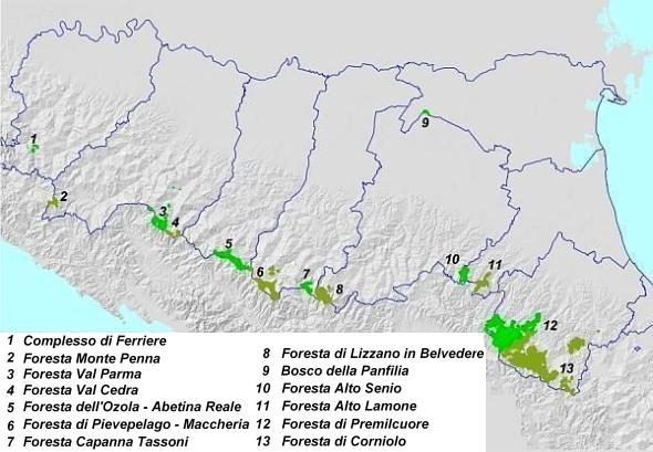 Mappa dei complessi forestali demaniali della Regione Emilia-Romagna