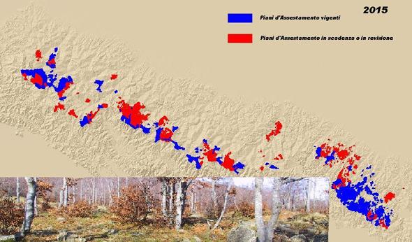 Mappa dei Piani di assestamento forestale in Emilia-Romagna