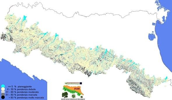 La carta illustra la distribuzione dei fotopunti rappresentati in base a classi di pendenza del versante. Pendenze marcate (superiori al 60%) sono concentrate soprattutto nel Piacentino e Bolognese, diffuse in tutta la Romagna
