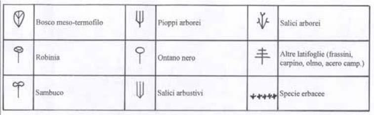 simbologia delle specie vegetazionali